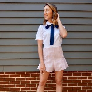 Collared Romper with Neck Tie